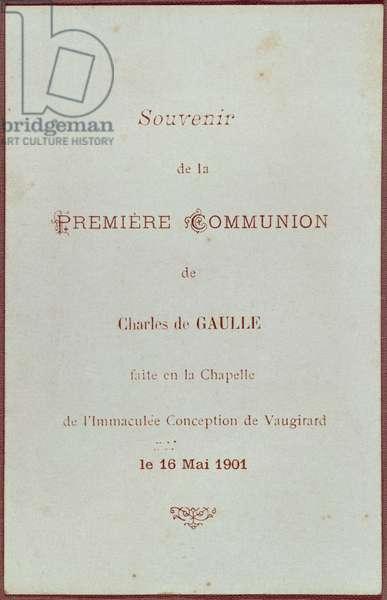 'Souvenir de la Premiere Communion' of Charles de Gaulle (1890-1970) at the Immaculee Conception Chapel, rue de Vaugirard, Paris, 16th May 1901 (print)