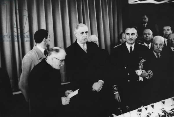 General Charles de Gaulle (1890-1970) inaugurating the village hall of Colombey les deux Eglises with the Mayor Monsieur Valleur, 1962 (b/w photo)