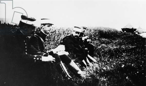 Second Lieutenant Charles de Gaulle (1890-1970) on manoeuvres, 1912 (b/w photo)
