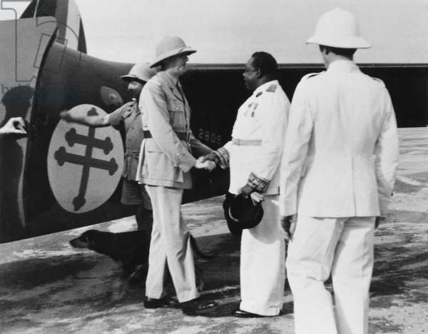 General Charles de Gaulle (1890-1970) and Governor Felix Eboue (1884-1944) at Brazzaville, Congo, 22nd February 1944 (b/w photo)
