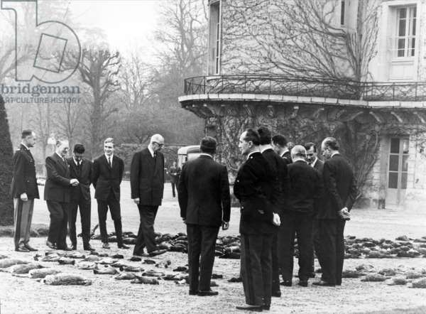 General de Gaulle and his grandson Charles hunting at Rambouillet, 8 December 1964 (b/w photo)