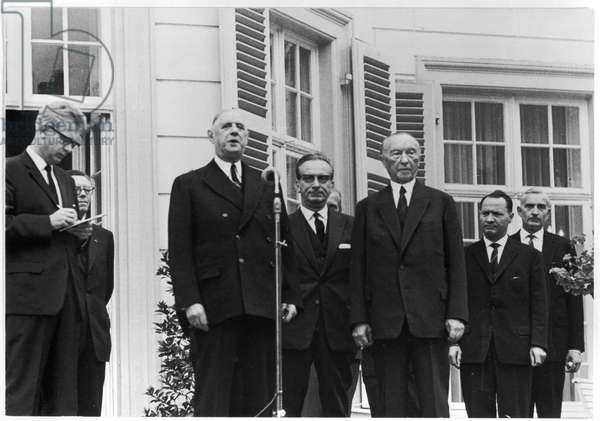 General de Gaulle (1890-1970) and Chancellor Konrad Adenauer (1876-1967) during the official visit of General de Gaulle to the Federal German Republic, 4th-9th September 1962 (b/w photo)