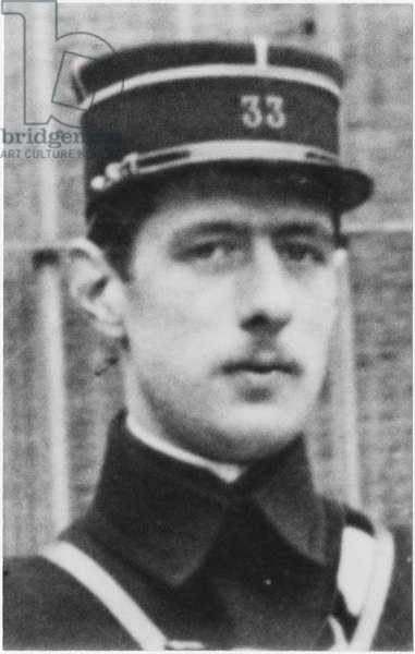 Second Lieutenant Charles de Gaulle (1890-1970) in the 33rd Infantry Regiment, Arras, late 1912 (b/w photo)