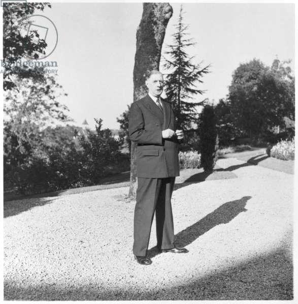 General Charles de Gaulle (1890-1970) at La Boisserie, 2nd October 1954 (b/w photo)