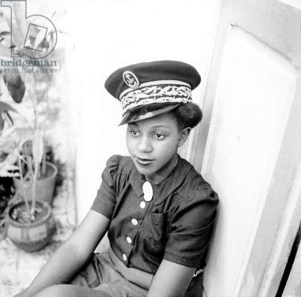Ginette Éboué in Brazzaville, c.1944-45 (b/w photo)