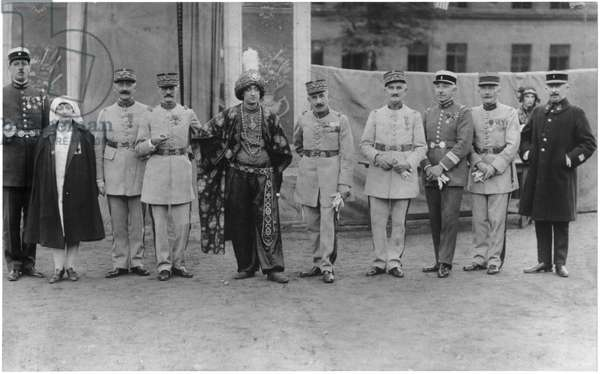 Charles de Gaulle (1890-1970) Commander of the 19th Infantry Battalion of chasseurs, celebrating with the generals, Trier, Summer 1929 (b/w photo)