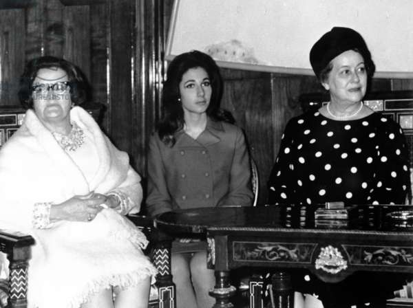 Madame de Gaulle (right) with Atıfet Sunay, wife of the President of Turkey, 25 October 1968 (b/w photo)