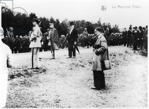 Inauguration of the monument 'Le Poilu a l'Assaut' by Alex Daoust (1896-1947) at the French military cemetery in Dinant, Belgium, 11th September 1927 (b/w photo)