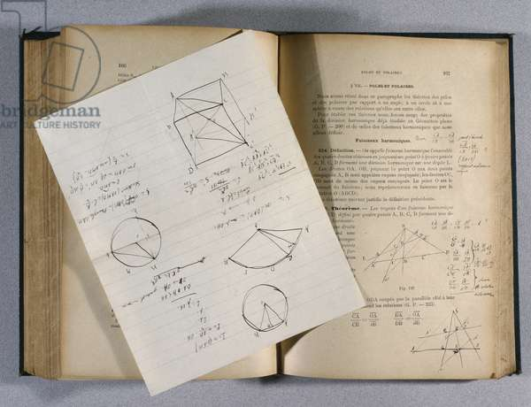 Book of mathematics belonging to Charles de Gaulle (1890-1970) when he was preparing for entrance to Saint-Cyr, 1908 (b/w photo)
