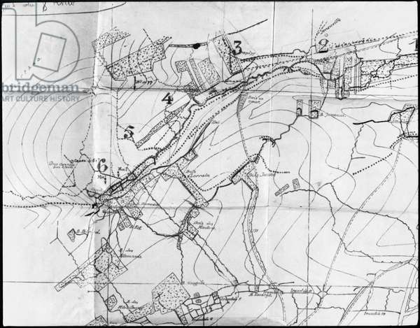 Map of the French trenches in Champagne, 1915 (pencil on paper) (b/w photo)