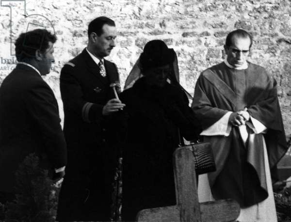 Madame de Gaulle, Philippe de Gaulle and Father Francois de Gaulle at the funeral of Charles de Gaulle, 12 November 1970 (b/w photo)