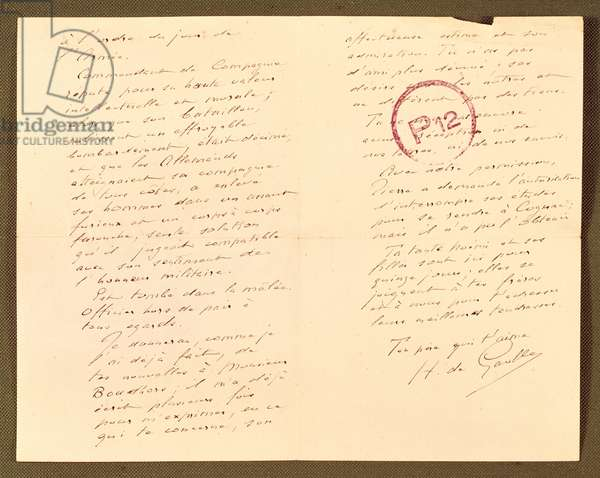 Letter of three pages written by Henri de Gaulle (1848-1932) to his son Captain Charles de Gaulle (1890-1970) in captivity in Germany, 23rd April 1916 (ink on paper) (see also 279734)