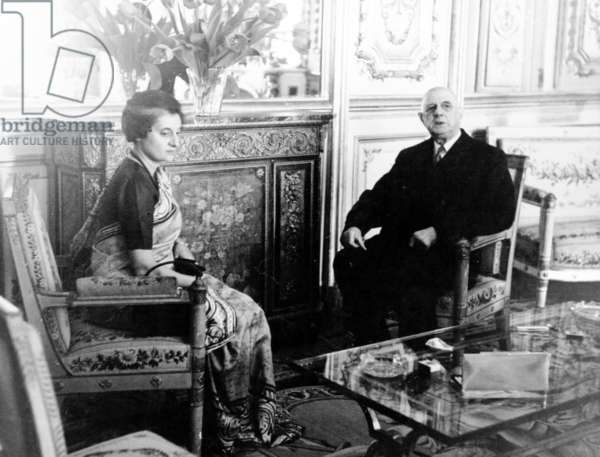 General de Gaulle and Indira Gandhi, Prime Minister of India, at the Élysée Palace, 25 March 1966 (b/w photo)