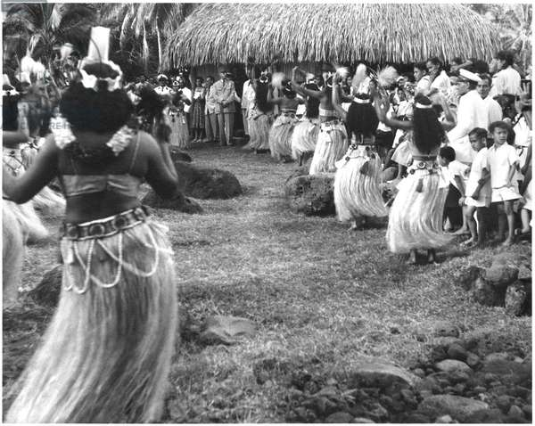 General Charles de Gaulle (1890-1970) welcomed by Tahitian dances during his official visit to French Polynesia, Iles sous le vent, 1956 (b/w photo)