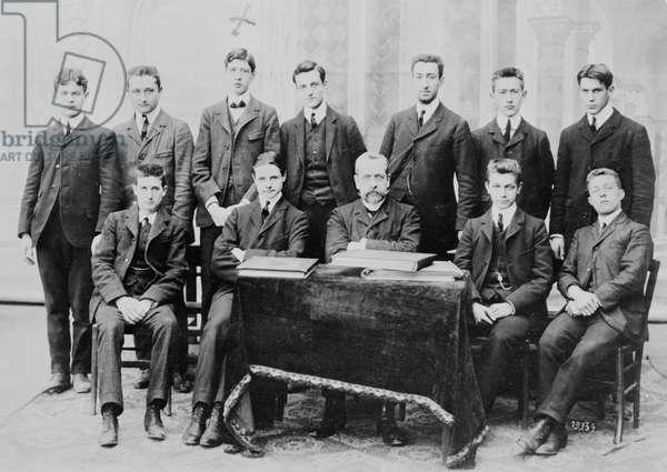 Charles de Gaulle (1890-1970) (1st row, 3rd L.) in a mathematics class at the Immaculee Conception School, rue de Vaugirard, Paris, 1906 (b/w photo)
