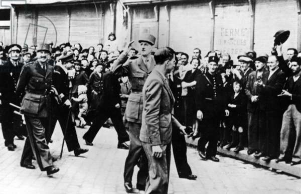 General de Gaulle and General Koenig cheered by the people of Cherbourg after the Allied Landings and the Battle of Normandy, 20 August 1944 (b/w photo)