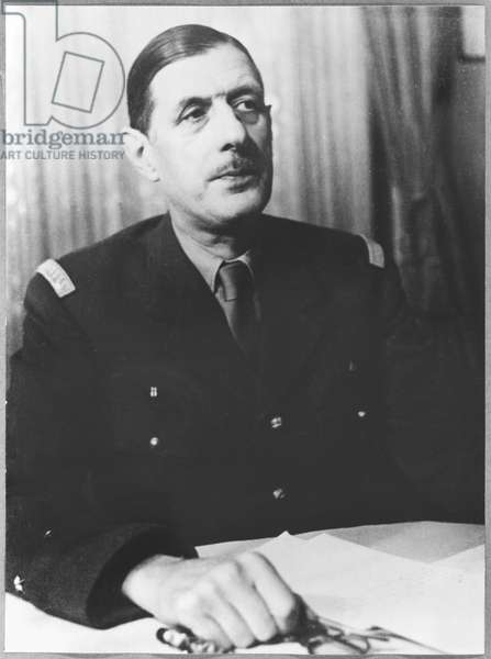 General Charles de Gaulle (1890-1970) in his office at Carlton Gardens, London, 1942-43 (b/w photo)