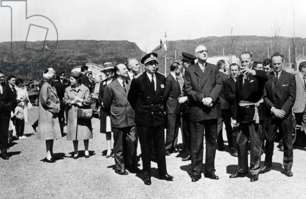 General de Gaulle at the site of the Channel Tunnel, Calais, 25 April 1966 (b/w photo)