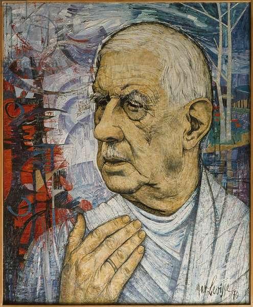 Portrait of General Charles de Gaulle (1890-1970) 1970 (oil on canvas)