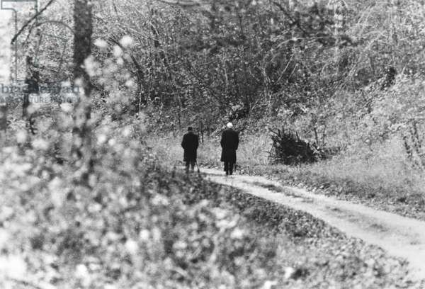 General Charles de Gaulle (1890-1970) with Admiral Francois Flohic, his Aide de Camp, walking in the surroundings of Colombey-les-Deux-Eglises, 1965 (b/w photo)