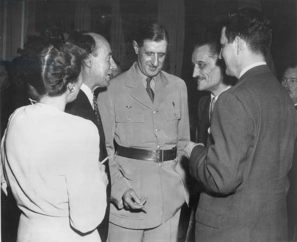 General Charles de Gaulle (1890-1970) with Henri Bonnet (b.1888) in Washington, late August 1945 (b/w photo)