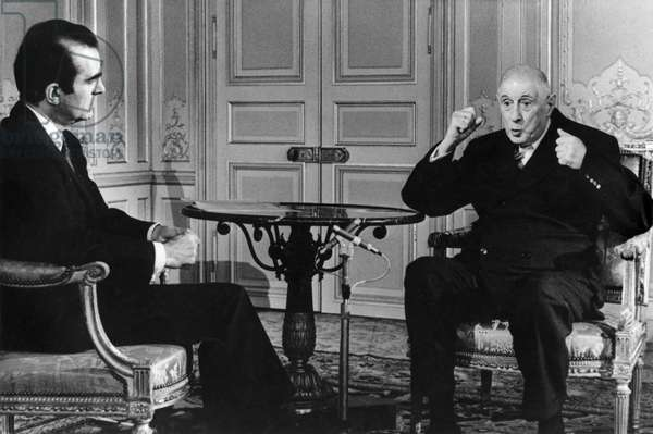Broadcast and televised interview between Michel Droit and General Charles de Gaulle (1890-1970) Palais de l'Elysee, 7th June 1968 (b/w photo)