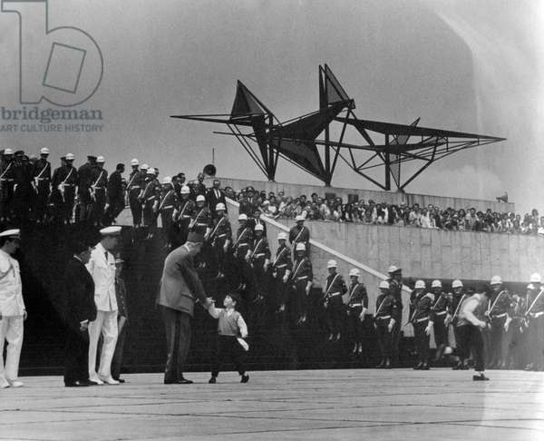 General de Gaulle in Brazil, 13 October 1964 (b/w photo)