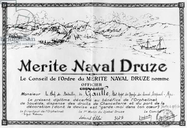 Imaginary decoration,  Order of Drusian Naval Merit, offered to Charles de Gaulle (1890-1970) Battalion Commander of the Levant troops in Beirut, Lebanon, 27th September 1931 (litho) (b/w photo)