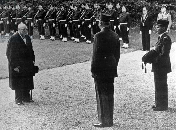 Winston Churchill receiving the Cross of Liberation from Charles de Gaulle, Hotel Matignon, Paris, 6 November 1958 (b/w photo)