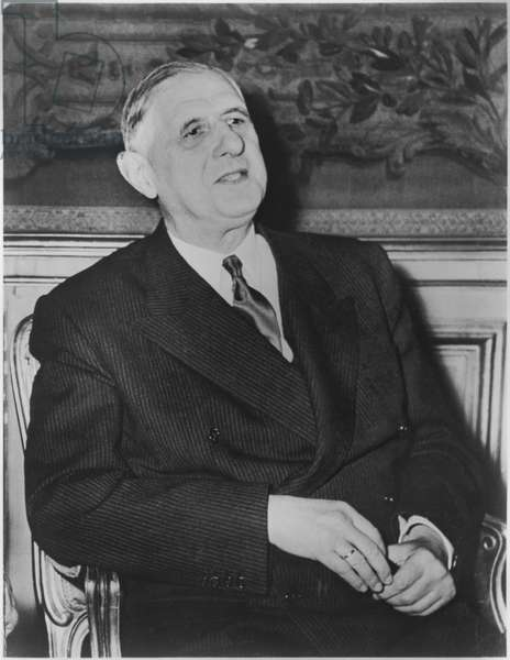 General Charles de Gaulle (1890-1970) at the Elysee Palace, 1959 (b/w photo)