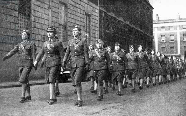 Free French Volunteers women parading in the streets of London, 1941 (b/w photo)