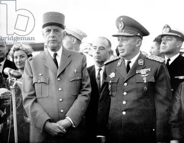 General de Gaulle and General Stroessner, Asuncion, Paraguay 6-7 October 1964 (b/w photo)