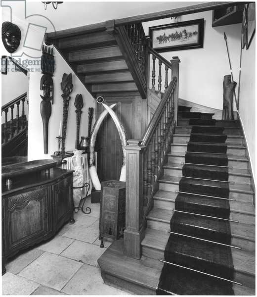 'La Boisserie' in Colombey-les-Deux-Eglises, entrance and staircase, 1991 (b/w photo)
