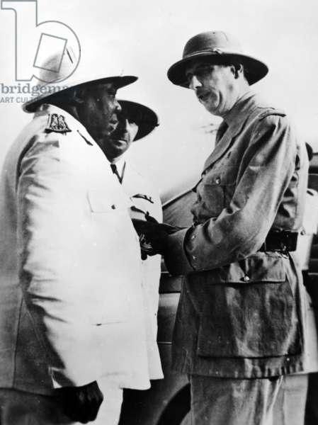 General de Gaulle, Governor of Chad Félix Eboué, and Colonel Edgard de Larminat at Brazzaville, 1940 (b/w photo)