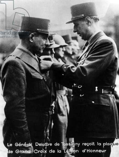 General de Gaulle decorating General Delattre de Tassigny with the Grand Cross of the Legion of Honour, 1944-45 (b/w photo)