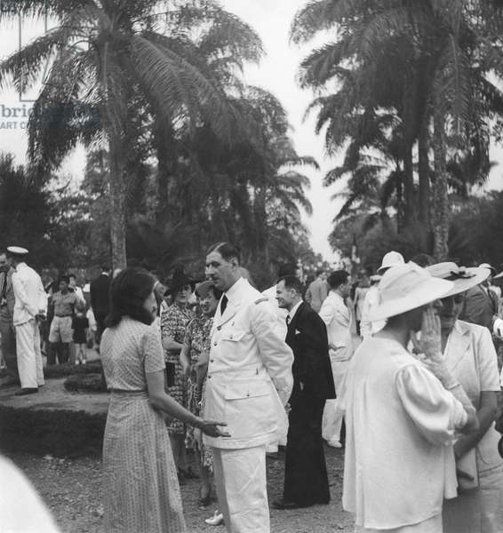 General Charles de Gaulle at a reception in the gardens of the government palace, Brazzaville, 26th August 1941 (b/w photo)