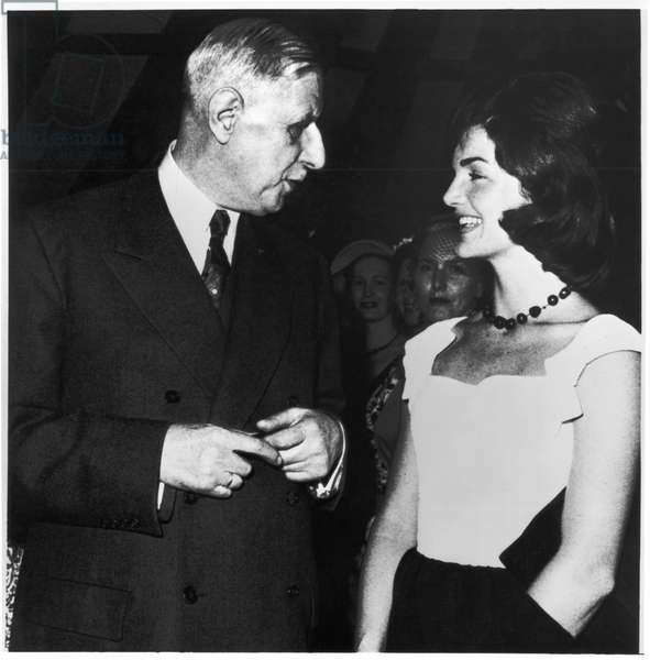 General Charles de Gaulle (1890-1970) conversing with Jacqueline Kennedy (1929-94) at the French Embassy in America, 22th April 1960 (b/w photo)