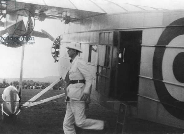 General Charles de Gaulle (1890-1970) arriving at Brazzaville airport, 24th October 1940 (b/w photo)