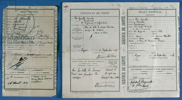 Certificates from Lieutenant Charles de Gaulle's visits to the Arras and Lyon hospitals, August and September 1914 (paper)