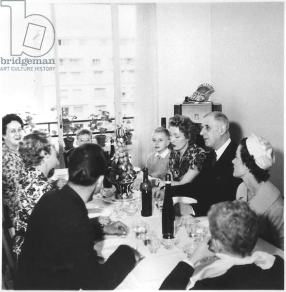 First communion lunch at Philippe de Gaulle's house, 1960 (b/w photo)