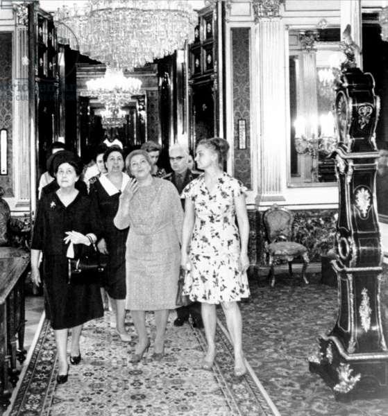 Madame Charles de Gaulle (left) and Viktoria Brezhneva on a visit to the Kremlin, Moscow, 20 June 1966 (b/w photo)
