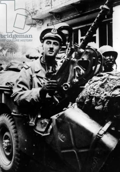 Midshipman Philippe de Gaulle in a jeep in Normandy with the sailor Gosselin, August 1944 (b/w photo)
