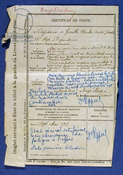 Certificate from Charles de Gaulle's visit to the Mont-Dore hospital, 1914-15