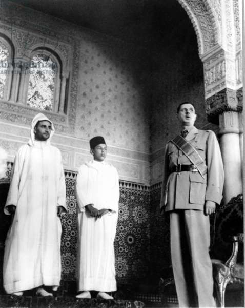 General de Gaulle with Sultan Mohammed V and the Crown Prince, the future Hassan II, Casablanca, 6 August 1943 (b/w photo)