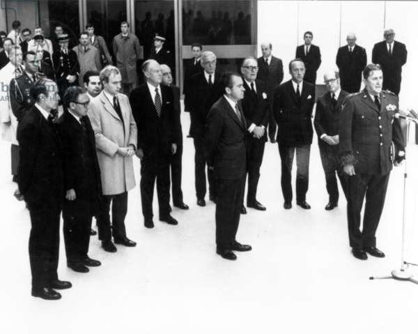 President Richard Nixon arriving at the airport in Paris for the funeral of Charles de Gaulle, November 1970 (b/w photo)