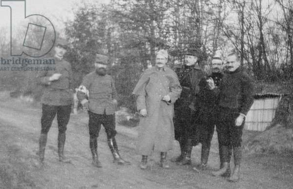 Captain Charles de Gaulle (1890-1970) at the first-aid post of his 33rd Infantry Regiment, Champagne, Autumn 1916 (b/w photo)