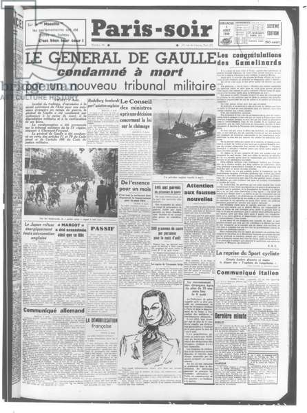 General Charles de Gaulle (1890-1970) condemned to death by a military tribunal, front cover of 'Paris-Soir', 4th August 1940 (engraving) (b/w photo)