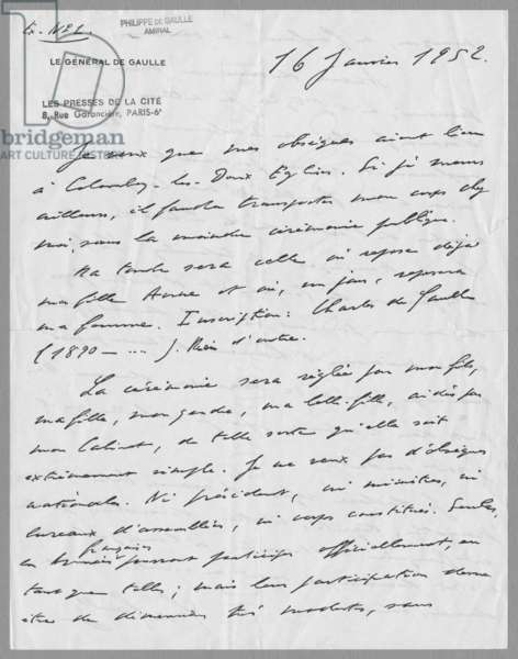 Letter written by General Charles de Gaulle, listing his wishes for his funeral, 16th January 1952 (recto) (see also 345879) (ink on paper)