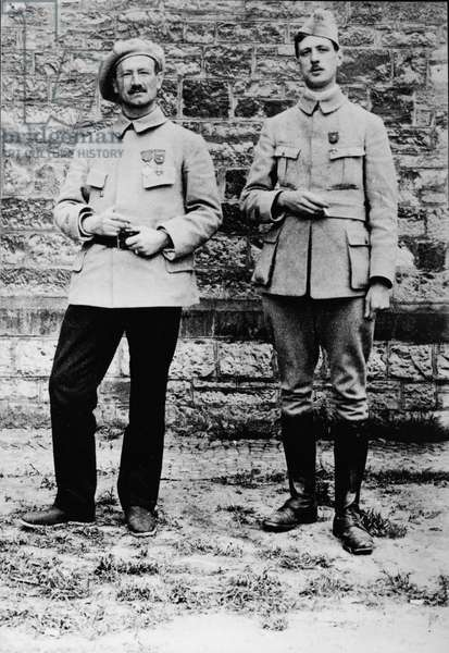 Captain Charles de Gaulle (1890-1970) and Captain Charrue convalescing, after January 1915 (b/w photo)