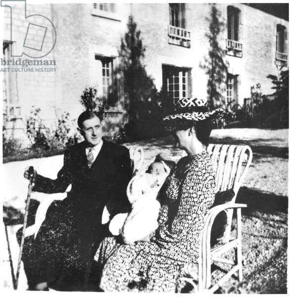 General de Gaulle (1890-1970) his wife and their grandson Charles at La Boisserie, 1948 (b/w photo)